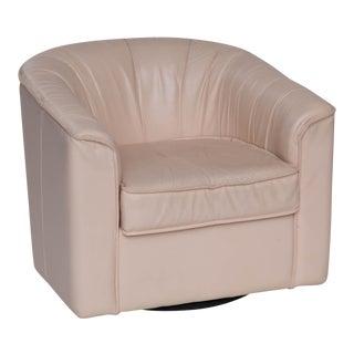 Leather Barrel Back Swivel Chair