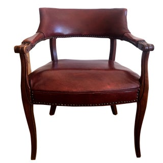 Vintage Oxblood Leather Accent Chair