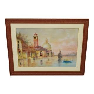 Early Framed Mixed Media Pastel and Watercolor Landscape on Board - Santa Maria Della Salute - Venice, Italy