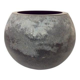 Alfredo Barbini Black Scavo Glass Murano Ball Vase