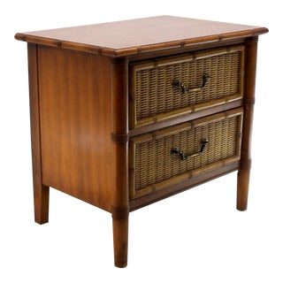 Faux Bamboo 2 Drawers Nightstand