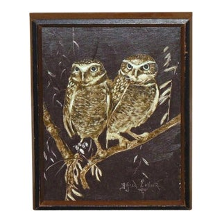 Alfred Zeller Oil Owls Painting