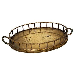 Classic Oval Brass Bamboo Style Tray