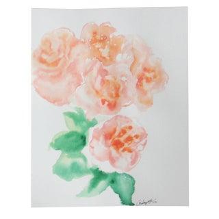 """""""Peach Peonies"""" Watercolor Painting"""