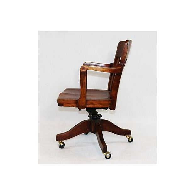 Vintage Solid Walnut Office Chair - Image 4 of 5