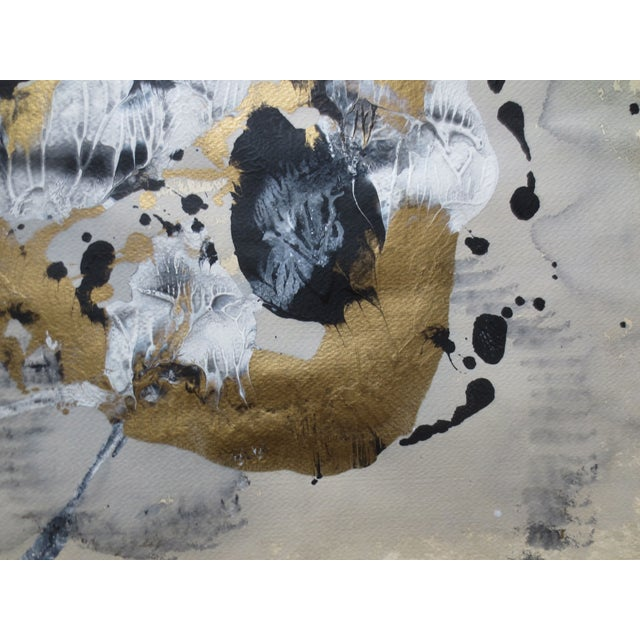 1984 Large Russian Gold & Black Gouache Abstact - Image 5 of 7