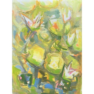 "Trixie Pitts ""White Water Lilies"" Abstract Oil Painting"