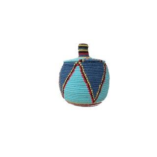 'Sebban' Blue Moroccan Woven Bread Basket