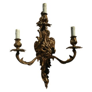 Baroque Hollywood Regency Three-Candle Wall Sconce