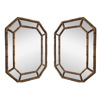 Chinoiserie Vintage Faux Bamboo Mirrors - A Pair