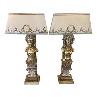 Renaissance Carved Giltwood Figural Lamps - A Pair