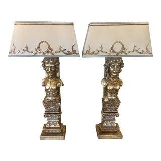 Renaissance Carved Giltwood Figural Lamps - A Pair