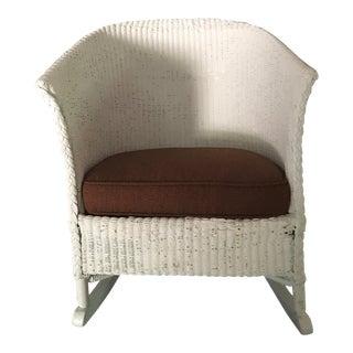 Lloyd Loom White Wicker Rocker With Upholstered Seat