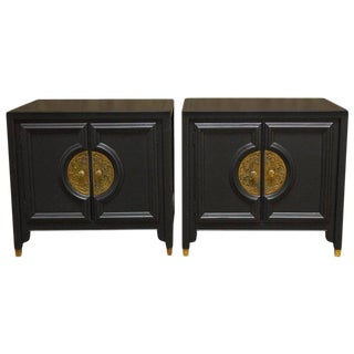 James Mont Style Century Furniture Lacquer Nightstands - a Pair
