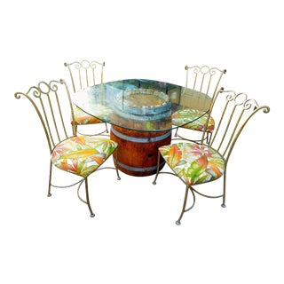 Hand Stained Oak Wine Barrel Table & 4 Chairs Set