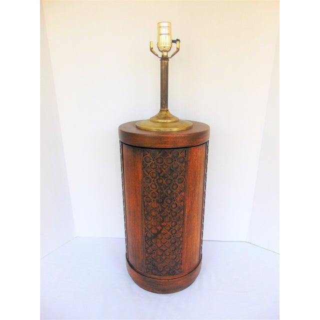 Mid-Century Mahogany Fretwork Lamp - Image 2 of 5