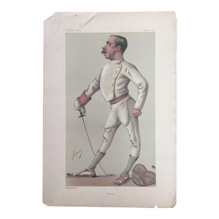 1880 Original Vanity Fair Fencing Print of Colonel Henry Stracey