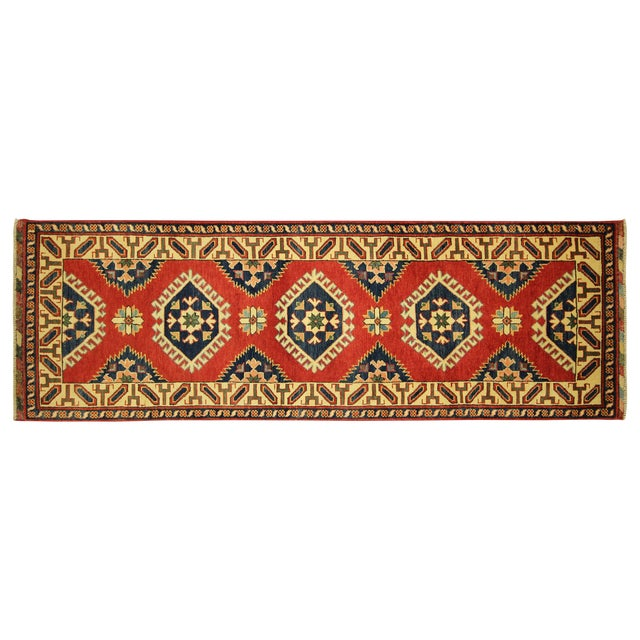 Geometric Super Kazak Scarlet Red Runner 3' x 8' - Image 1 of 8