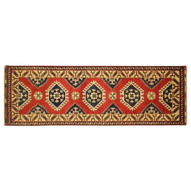 Image of Geometric Super Kazak Scarlet Red Runner 3' x 8'