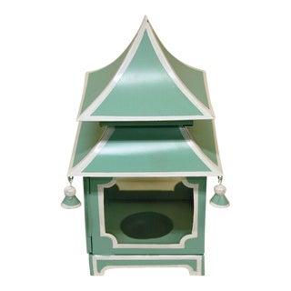 Turquoise Painted Tole Pagoda Lantern
