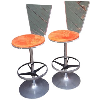 Mid-Century Lucite Bar Stools - A Pair