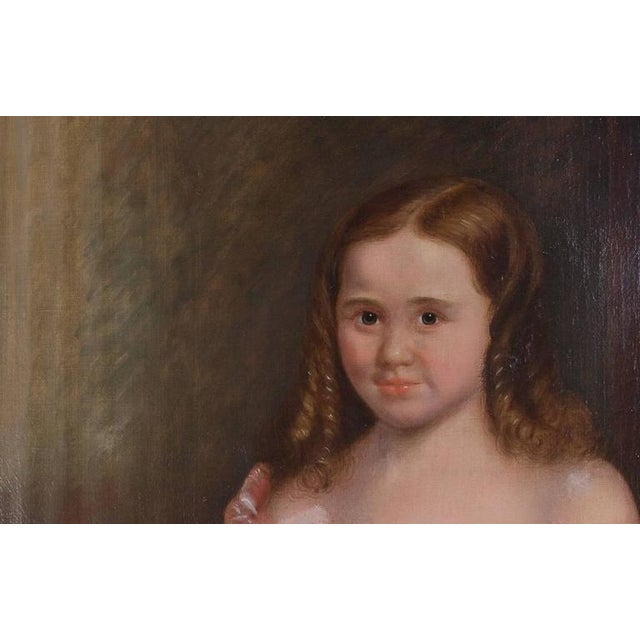 19th Century Oil on Canvas of Girl and Dog - Image 4 of 5