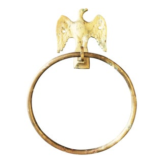 Vintage Brass Bird Towel Ring