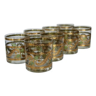 Mid-Century 24K Gold Lowball Glasses - Set of 8