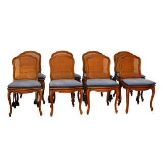 Louis XV French Cane Dining Chairs - Set of 8