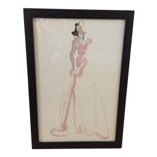 Hand Colored Fashion Drawing of Pink Gown