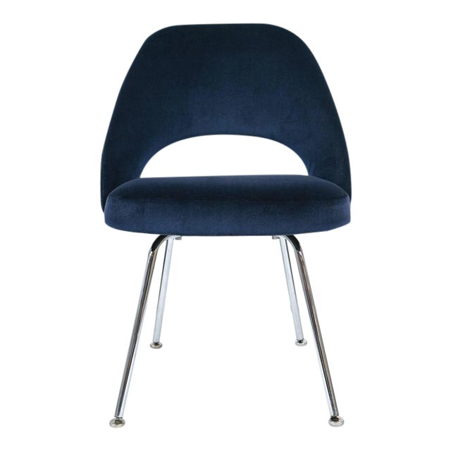 Saarinen Executive Armless Chairs in Navy Velvet, Set of Six - Image 1 of 7