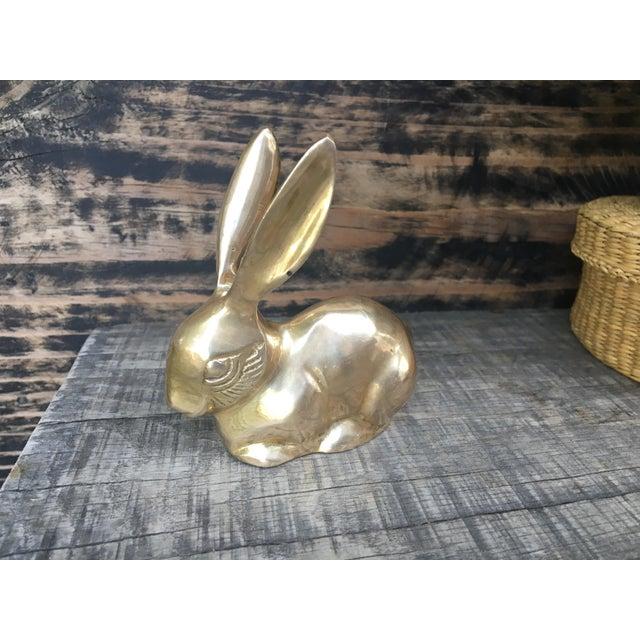 Mid Century Modern Brass Rabbit Bunny Figurine - Image 2 of 7