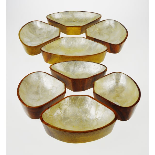 Mid Century Monkey Pod Wood and Capiz Shell Snack Bowls - Image 4 of 11