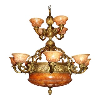 Antique Two-Tiered Gilt Bronze and Alabaster Chandelier