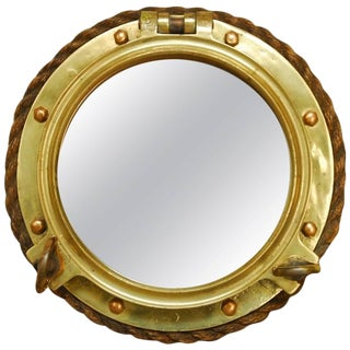 British Royal Navy Solid Brass Ships Porthole Rope Mirror