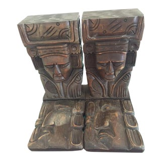 Vintage Wood Carved Aztec Bookends - A Pair