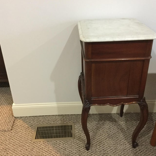 Antique Marble Top Walnut Nightstand - Image 8 of 10