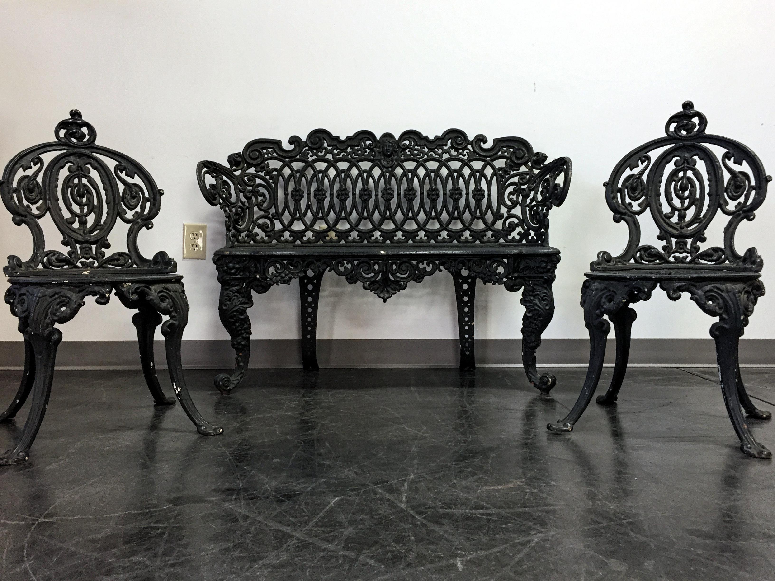 Adams Navillus Antique Cast Iron Garden Furniture   Set Of 3   Image 3 Of 11