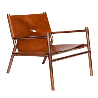 Erickson Aesthetics Slung Calf Copper Lounge Chair