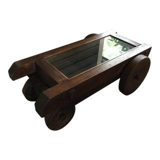 Repurposed Vintage Iron & Wood Mine Cart Coffee Table