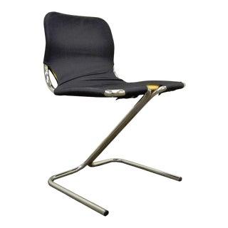Vintage Mid-Century Modern Tubular Chrome Z Form Desk Dining Accent Side Chair