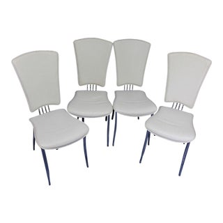 White Leather Dining Side Chairs - Set of 4