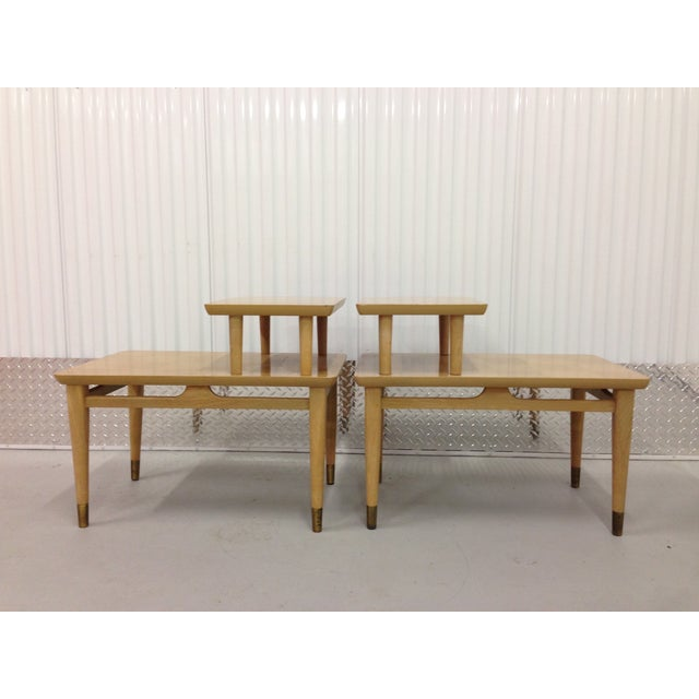 Mid-Century Modern Two-Tiered End Tables - A Pair - Image 4 of 6