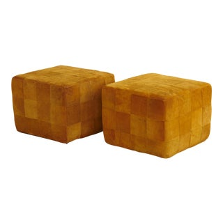 Pair of Cognac Colored Buckskin Ottomans by Stendig, Made in Switzerland