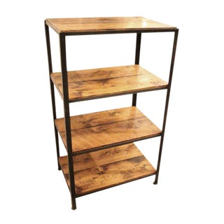 Reclaimed Pine Shelving Unit with Steel Frame