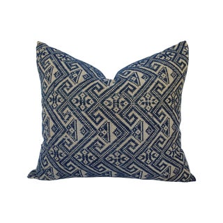 Hill Tribe Embroidered Indigo Silk Pillow
