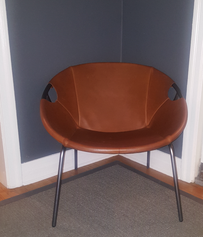 west elm dries leather sling chair image 2 of 7