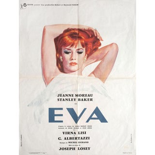 Eva 1962 Original French New Wave Movie Poster With Jeanne Moreau