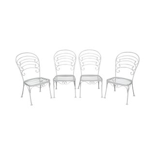 Woodard Set of 4 White Painted Scrolled Iron Patio Dining Chairs