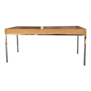 Mid-Century Wood and Chrome Bench
